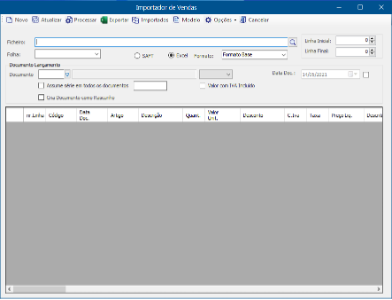 addon Importação de documentos de venda via Excel:SAFT